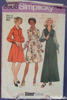 Vintage Retro look slimmer Dress Sewing Pattern Simplicity midi & maxi 70s
