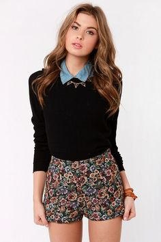 Cute High-Waisted Shorts - Floral Shorts - Tapestry Shorts sweater blouse #outfit #inspired #inspiration - new blouse styles, ladies patterned blouses, pretty blouses *sponsored https://www.pinterest.com/blouses_blouse/ https://www.pinterest.com/explore/blouses/ https://www.pinterest.com/blouses_blouse/white-lace-blouse/ http://www.express.com/clothing/women/blouse-tops/cat/cat1920059