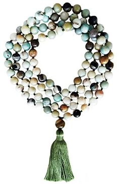 Amazonite 108 Bead Stone Hand Knotted Mala Prayer Necklace ** You can find out more details at the link of the image.