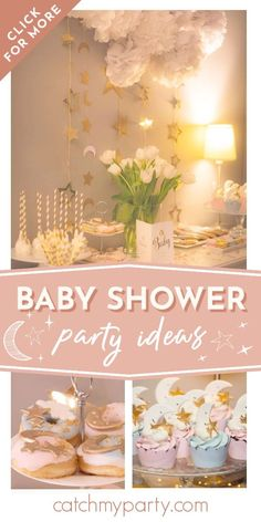 Swoon over this adorable Twinkle Twinkle Little Star baby shower! The cupcakes are so cute! See more party ideas and share yours at CatchMyparty.com #catchmyparty #partyideas #twinkletwinklelittlestar #babyshower #starbabyshower