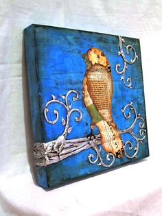 Bird Art  Birds in Trees Whimsical Home Deco rSALE by mamapainter, $150.00