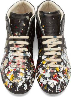 Maison Martin Margiela Black Leather Paint Splatter Replica Sneakers