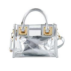 FANCY LOVE Large Work Waterproof Tote Purse Clear Shoulder Handbags Stripe Clear Transparent Beach Bag (Silver)