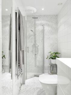 Dust jacket - stylish small bathroom grey white