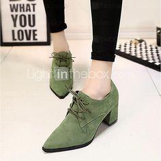 sapatos femininos de camurça retro conforto de calcanhar Chunky / escritório oxfords toe pointed&carreira / ocasional preto / verde / de 2016 por R$95.21