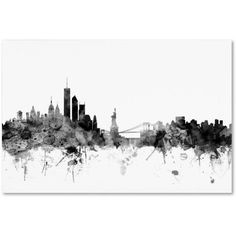 Trademark Fine Art New York Skyline B Canvas Art by Michael Tompsett, Size: 22 x 32, Black