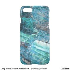 Deep Blue Abstract Marble Pattern iPhone 7 Case - Wonderfully rich deep hues of blue, teal and charcoal gray blend beautifully in this abstract marble pattern. If you wish to personalize this case with a name or monogram, select the customize it option and add your text. Lighter color text works best to contrast with the dark colors of this mesmerizing marble pattern. Sold at DancingPelican on Zazzle.