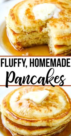 Make these easy, light, fluffy homemade pancakes for the family this weekend. Made with all real ingredients, this pancake recipe is packed full of flavor. #pancakes #pancakerecipe #easypancakes #fluffypancakes #breakfast #allthingsmamma   allthingsmamma.com Homemade Pancakes Fluffy, Light And Fluffy Pancakes, Homemade Breakfast, Tasty Breakfast Recipes, Buttermilk Pancakes Easy, Homemade Waffles, Homemade Salsa, Breakfast Dishes, Breakfast Pancakes