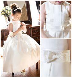A-line Princess Jewel Tea-length Satin Flower Girl Dress (733982) - USD $ 127.39