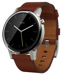 Motorola Moto 360 (2nd Gen.) - Mens 42mm, Silver with Cognac Leather Band