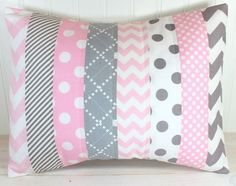 Throw Pillow Cover, Nursery Cushion Cover,   Nursery Decor, Crib Bedding, Baby Girl Nursery Pillow, 12 x 16 Inches, Baby Pink   and Gray Chevron...