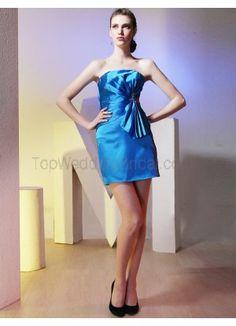 Gorgeous Blue Printed Satin Strapless Short Cocktail Dress
