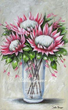 Flor Protea, Protea Art, Protea Flower, Gouache Painting, Silk Painting, Painting Flowers, King Art, Chalkboard Art, Painting Patterns