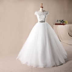 Elegant off shoulder with lace bodice ball gown wedding dress