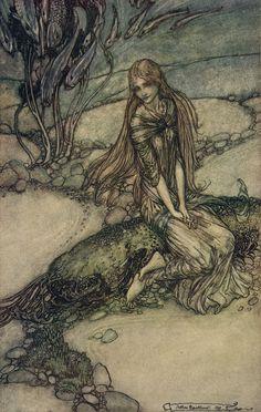 """Melusina Mermaid: Arthur Rackham illustrates, """"Undine"""""""