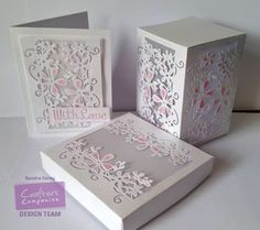 Card and Box made with Crafter's Companion English Country Garden Floral Vine Edge Die Deigned by Sandra Carey Card Making Designs, Card Making Tutorials, Making Ideas, Pretty Cards, Cute Cards, Easy Cards, Box Cards Tutorial, Exploding Box Card, Crafters Companion Cards