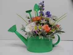 Watering Can Arrangement, Spring Watering Can Decor, Watering Can with White Roses, Mother's Day Gift, Unique Gift, Spring Table Arrangement by BeautifulHomeAccents on Etsy