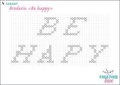 """Tuto DIY - Pas à pas - Gabarit broderie """"Be happy"""" pour rideau en toile de jute"""