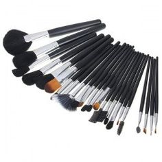 $14.64 NEW Brand Professional 24PCS Soft Make-up Brushes with Large Elegant Black Leather Bag