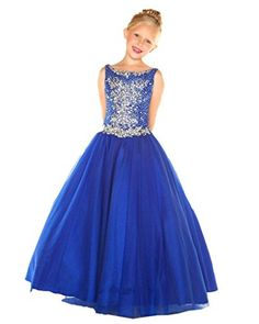 Mollybridal Flower Girls' Sequin Tulle Ball Gowns Pageant Wedding Dress Blue 10 - Brought to you by Avarsha.com