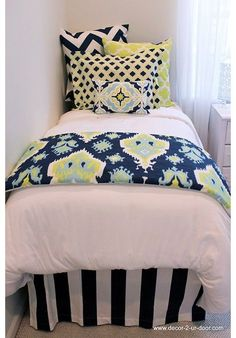 Lime & Navy Designer Teen & Dorm Bed in a Bag | Teen Girl Dorm Room Bedding HOT HOT HOT!!! Designer headboard, custom pillows, exclusive bed scarf, window panels, wall art, bed skirts, duvet (twin, queen, king) and custom monogramming!! Turn your room from drab to fab!!