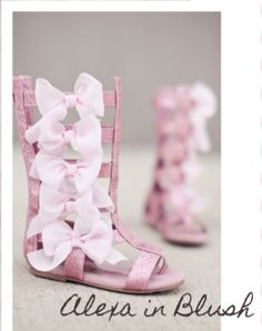 Your little fashion queen will love these sparkly gladiator sandals by Joyfolie, which boast chiffon bows and a zip up the back for easy on and off. | WyattLily.com