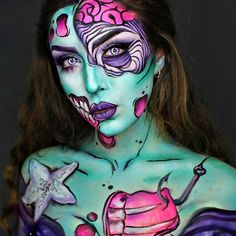 Want Halloween make-up that wow will? Then you need to try our 25 awesome Halloween make-up looks. Pop Art Makeup, Face Paint Makeup, Makeup Ideas, Halloween Makeup Looks, Halloween Make Up, Halloween 2017, Pop Art Zombie, Monster Makeup, Zombie Makeup