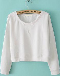 Sweat-shirt+collet+rond+à+manche+longue+-Blanc+EUR16.48
