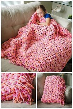 Easy Cozy Crochet Blanket Pattern - This easy crochet blanket pattern is super easy and works up really quickly. The bulky, chenille type yarn makes this blanket super soft and spongy but still lightweight. This makes a lovely texture if you want to make Easy Crochet Blanket, Crochet For Beginners Blanket, Blanket Yarn, Afghan Crochet Patterns, Crochet Patterns For Beginners, Knitting For Beginners, Crochet Afghans, Sofa Blanket, Knitting Patterns