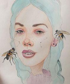 Если бы не было пчёл🐝, не было бы этого прекрасного мира...ну, и меня в том числе! пчела это оберег и жизнь бурлящая во всем . 🐝  🍯Поведаю вам истину: на самом деле в наших жилах течёт золотистый мёд! Автопортрет на конкурс @pashalidi #pashalidi_contest 🍋Стоимость такого портрета всего 300₴ (10$). #ranhgallery#art#watercolor#portrait#watercolors#painting#gallery#kuiv#ua#girl#artgirl#topcreator#honeyme#mead#bee#life