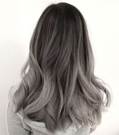 Are you looking for the most flattering silver/ grey hair color ideas and styles? Ash Gray Hair Color, Silver Grey Hair, Ombre Hair Color, Hair Color Balayage, Brown Hair Colors, Hair Highlights, Gray Ombre, White Highlights, Ash Gray Balayage