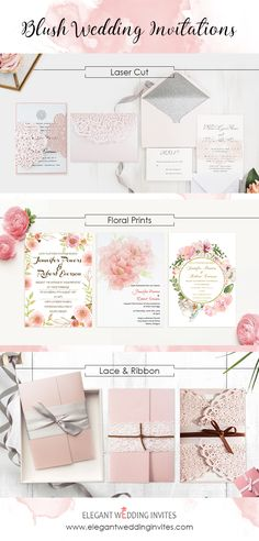 trendy wedding invitations in different shapes of blush and pink colors from Elegant Wedding Invites