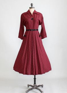 Vintage Late 1940s Kay Windsor Plaid Day Dress