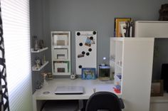 Teen boys room, My son turned 13 and wanted a more grown up room. He did the design by himself over the summer break. , The work space  , Bo...