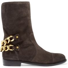 Giuseppe Zanotti Catena embellished suede boots ($470) ❤ liked on Polyvore featuring shoes, boots, dark gray, round toe boots, suede slip on shoes, slip-on shoes, low heel suede boots and slipon boots