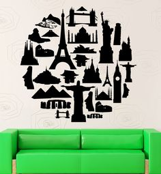 Wall Stickers Travel Agency Tourist Attraction Europe Asia Vinyl Decal (ig2396)