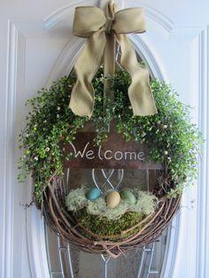 Spring Door Wreath Easter Wreath Welcome by DoorWreathsByDesign, $64.95