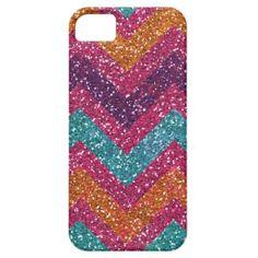 Glitter Chevron Pink Purple Orange Teal iPhone 5 iPhone 5 Case