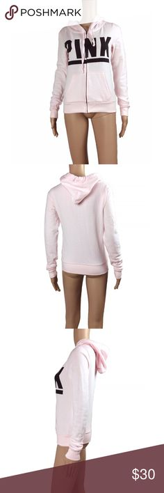 """Victoria's Secret baby pink zip up hoodie Excellent condition - only worn once, hand washed and hung to dry - literally looks like new. Black text on the front that says PINK. size XS - fits like a size small in my opinion. Soft fleecy like interior. Pockets on either side of the waist. Fully zips up the front. Mannequin measurements:  height - 5'8  Bust - 32""""  waist - 24.5  hips - 32"""" PINK Victoria's Secret Sweaters"""