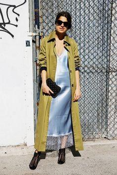 Leandra Medine, wearing a blue slip underneath a long green jacket. Leandra Medine, Estilo Fashion, Love Fashion, Fashion Trends, Paris Fashion, Stockholm Street Style, Paris Street, Look Street Style, Man Repeller