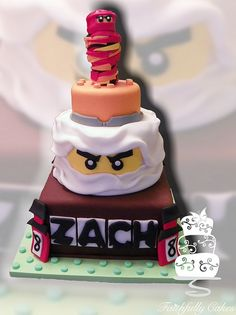Lego Ninjago Cake, i would just do the nijago in white, and name bottom layer , and not do the stuff on top 8th Birthday Cake, Lego Birthday, Birthday Ideas, Cupcakes, Cake Cookies, Cupcake Cakes, Lego Ninjago Cake, Ninjago Party, Lego Cake