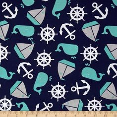 Nautical Treasure Tossed Nautical Light Navy from @fabricdotcom  Designed by Ellen Crimi-Trent for Clothworks, this cotton print is perfect for quilting, apparel and home decor accents. Colors include navy blue, grey, turquoise and white.