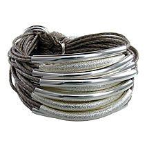 Multi Tube Bracelet Silver & Silver Sandblast, Taupe, Gillian Julius Jewelry $319