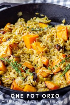 This one pot orzo is such an easy vegetarian skillet dinner! With a buttery sauce and roasted butternut squash it's such a comforting winter dinner. dinner One Pot Orzo with Roasted Butternut Squash One Pot Vegetarian, Vegetarian Recipes Dinner, Veggie Recipes, Healthy Recipes, One Pot Recipes, Orzo Recipes, Veggie Dinner, Healthy Salads, Healthy Life