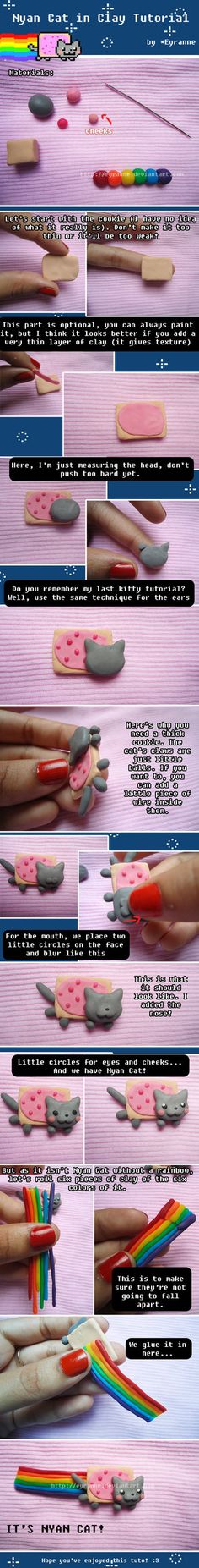 Tutorial Comment faire and Nyan Cat en Fimo Tutoriel Comment faire un Nyan Cat en Fimo is part of Clay crafts Cute – Cute Polymer Clay, Cute Clay, Polymer Clay Miniatures, Fimo Clay, Polymer Clay Projects, Polymer Clay Charms, Polymer Clay Creations, Polymer Clay Jewelry, Clay Crafts