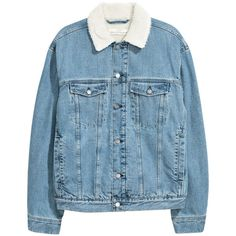 Pile-lined Denim Jacket $69.99 (€56) ❤ liked on Polyvore featuring outerwear, jackets, tops, denim jackets, fleece-lined jackets, denim jacket, button jacket, lined jean jacket and jean jacket