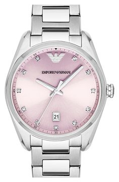 Emporio Armani Crystal Index Bracelet Watch, Pink Diamond Bracelets, Crystal Bracelets, Crystal Jewelry, Bracelet Clasps, Bracelet Watch, Armani Jewellery, Armani Watches, Chic, Accessories