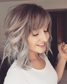 Hairstyles For Medium Length Hair With Bangs And Layers Short Curly Haircuts, Haircuts With Bangs, Curly Hair Cuts, Curly Hair Styles, Layered Haircuts, Curly Short, Pixie Haircuts, Layered Bob With Bangs, Medium Layered