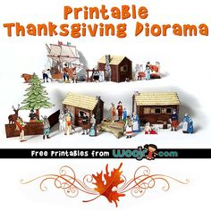Print and build this charming Thanksgiving diorama scene, based on the Mayflower landing at Plymouth rock! Diy Projects For Kids, Diy For Kids, Crafts To Do, Crafts For Kids, Fall Crafts, Diorama Kids, Thanksgiving Projects, Thanksgiving Activities, Monster Coloring Pages