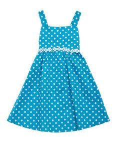 Look what I found on #zulily! Turquoise Polka Dot Daisy A-Line Dress - Toddler & Girls by Rare Editions #zulilyfinds